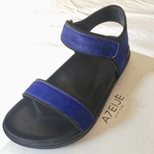 NWOT A7EIJE Astra Sandals Blue Pony Hair US9